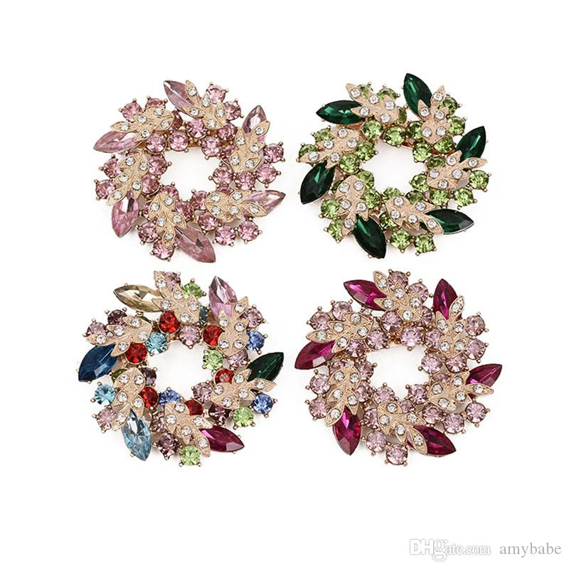 Ladies Girls Brooch Pin With Fashion Jewelry Fancy Vintage Rhinestone Bling Crystal Bauhinia Flower 10 Colour Option