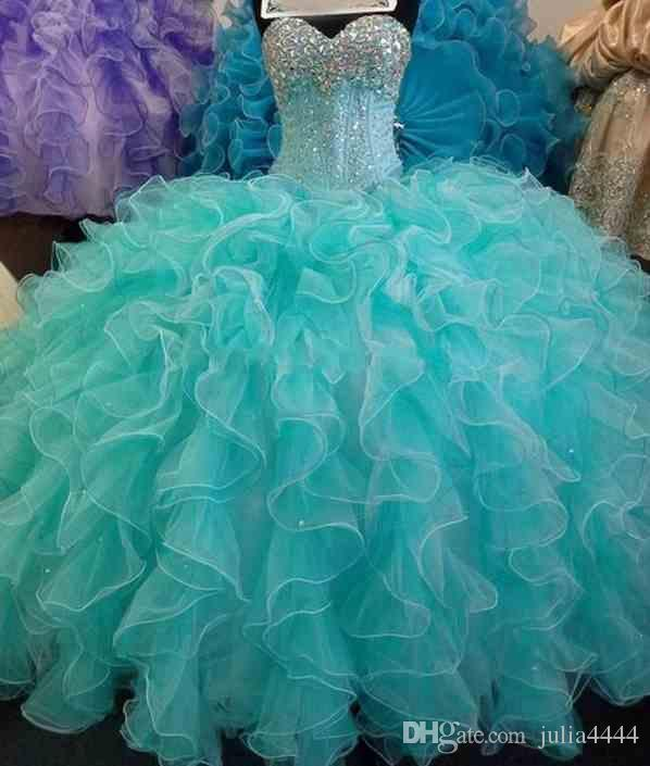7ad5969bb1 Turquoise Quinceanera Dresses Sequins Beads Sweetheart Ball Gown Prom Dress  Formal Gowns Puff Sweet 16 Vestidos De 15 Anos Princess Gowns On Sale Peach  ...