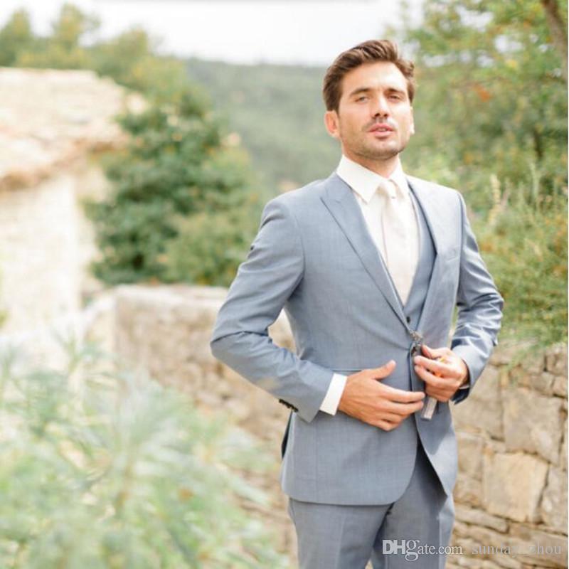 Abiti da Sposa Grigio Chiaro Abiti da sposo su misura Smoking Abiti Moda Abiti da cerimonia formali adatti a smoking Giacca + Pant + Vest