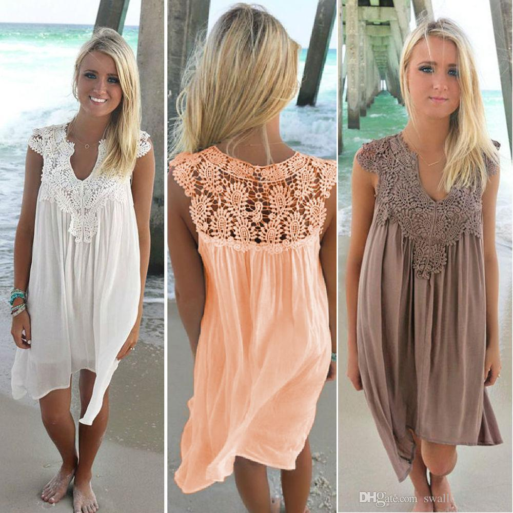 085374506d5a1 Boho Style Women Lace Dress Summer Loose Casual Beach Mini Swing Dress One  Piece Playsuits Chiffon Bikini Cover Up Womens Clothing Sun Dress Prom  Gowns Cute ...