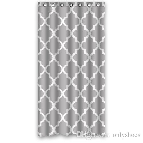 Customs 36/48/60/66/72/80 W x 72 H Inch Shower Curtain Quatrefoil Grey and White Lattice Design Polyester Fabric Shower Curtain