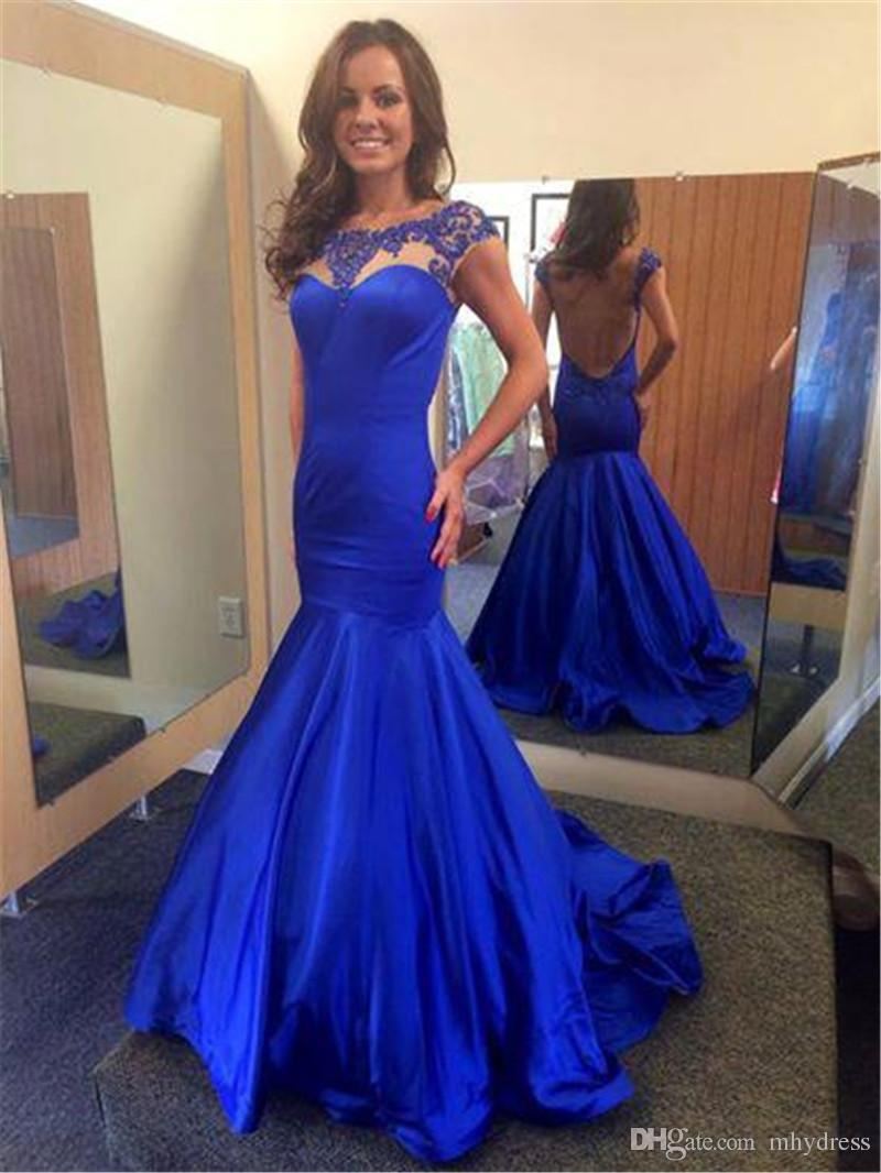 Charming Royal Blue Prom Dresses Mermaid Style 2017 Sheer Open ...