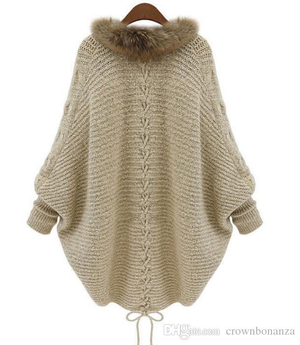 شتاء جديد سترة المعطف الفراء طوق قميص المرأة سترة محبوك ماركة عارضة تريكو سترات شحن مجاني
