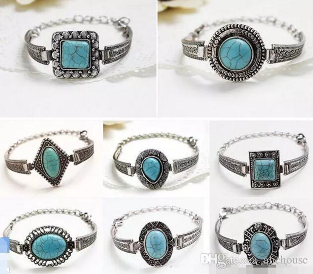 a3165bb74135b Antique Silver Bohimian Oval Round Marquise Drop Turquoise Bead Bracelet  Bangle For Women Adjustable Chain 7 Designs free shipping