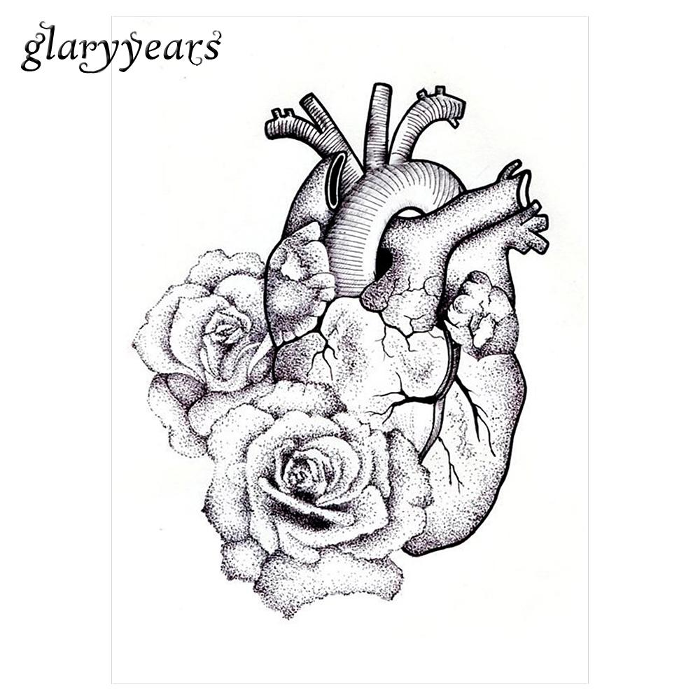 Wholesale Temporary Body Art Tattoo Sticker Km 064 Fake Sketch Heart