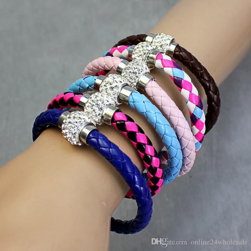 Wholesale Hot PU Leather Magnet Merge Bracelet & Disco Ball Crystal Magnetic Clasp Bracelet Factory Wholesale