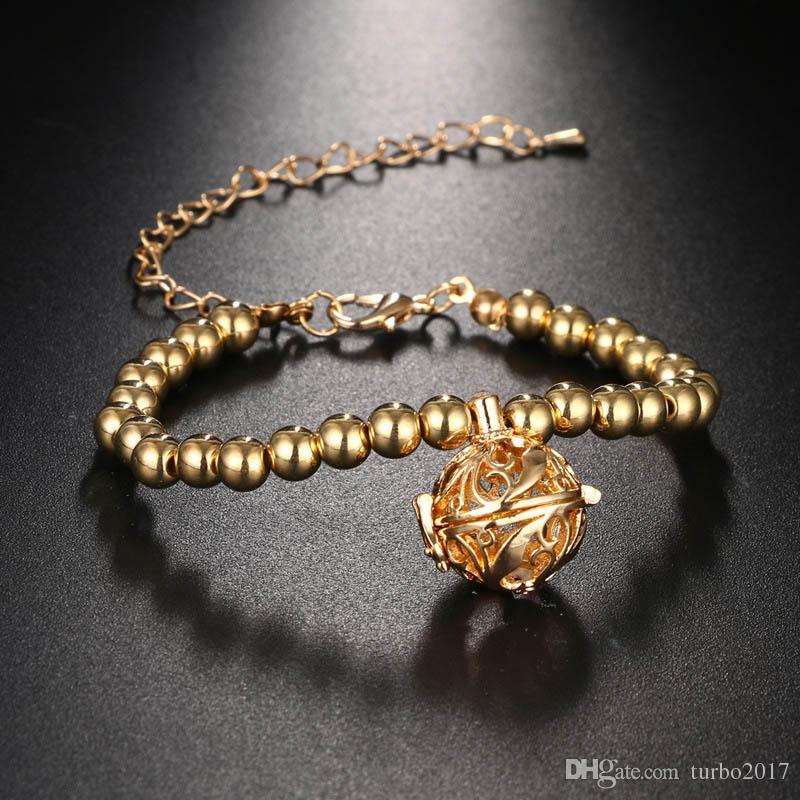 Aromatherapy Diffuser Locket Charm Bracelet Silver Gold Beaded Bracelet Jewelry Women Fashion Bracelets Locket Charms for Bracelets