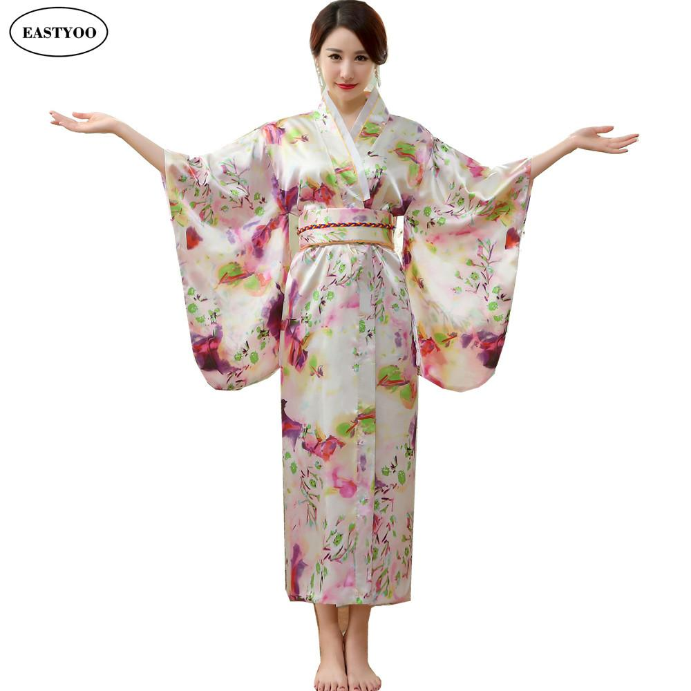 26f5feaab3 2019 Wholesale Japanese Silk Robes Women Bathrobes Long Dressing Gown Flora  Silk Pajamas Robe Femme Korean Hanbok Long Japanese Kimono From Splendid99