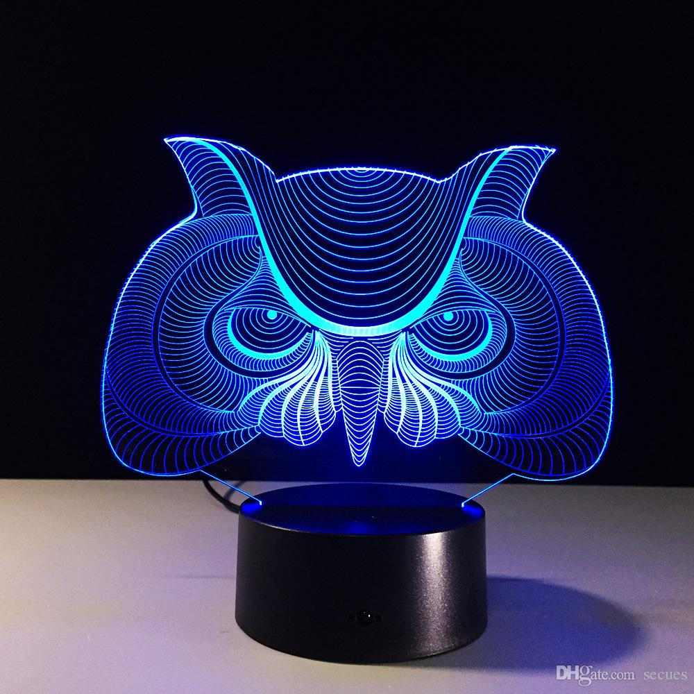 2017 Owl Head 3D Illusion Night Lamp 3D Optical Lamp Battery DC 5V Wholesale Dropshipping