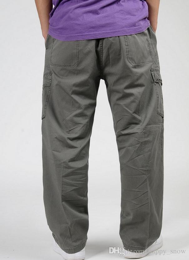 Plus Size XL 2XL 3XL 4XL 5XL 6XL Pantaloni cargo da uomo Primavera Uomo Hip Hop Pantaloni larghi Pantaloni