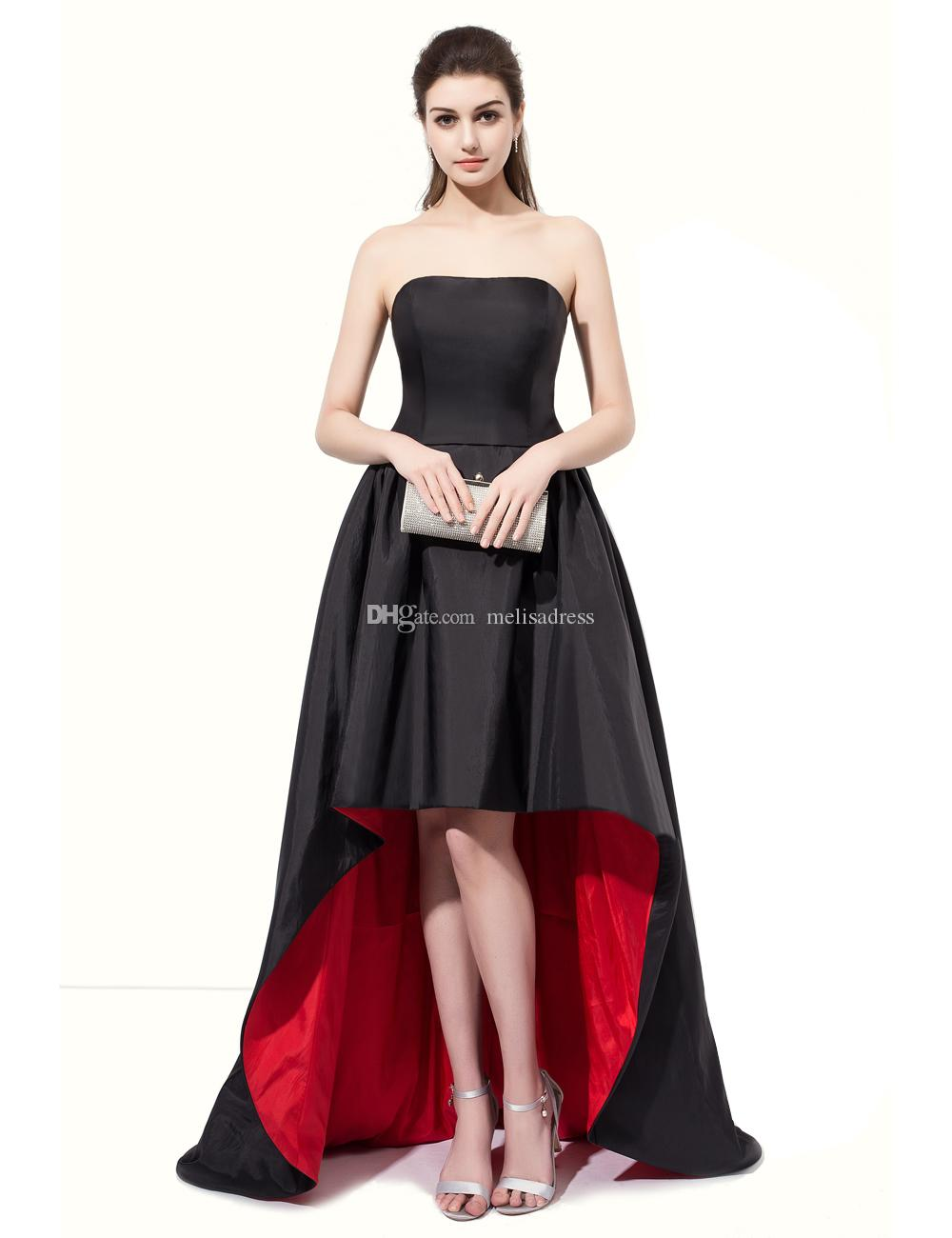 Real Samples Strapless Short Front Long Back Evening Gown Black And Red High  Low Prom Dresses With Two Pockets For Masquerade Alternative Prom Dresses  Buy ... c742e05074c1