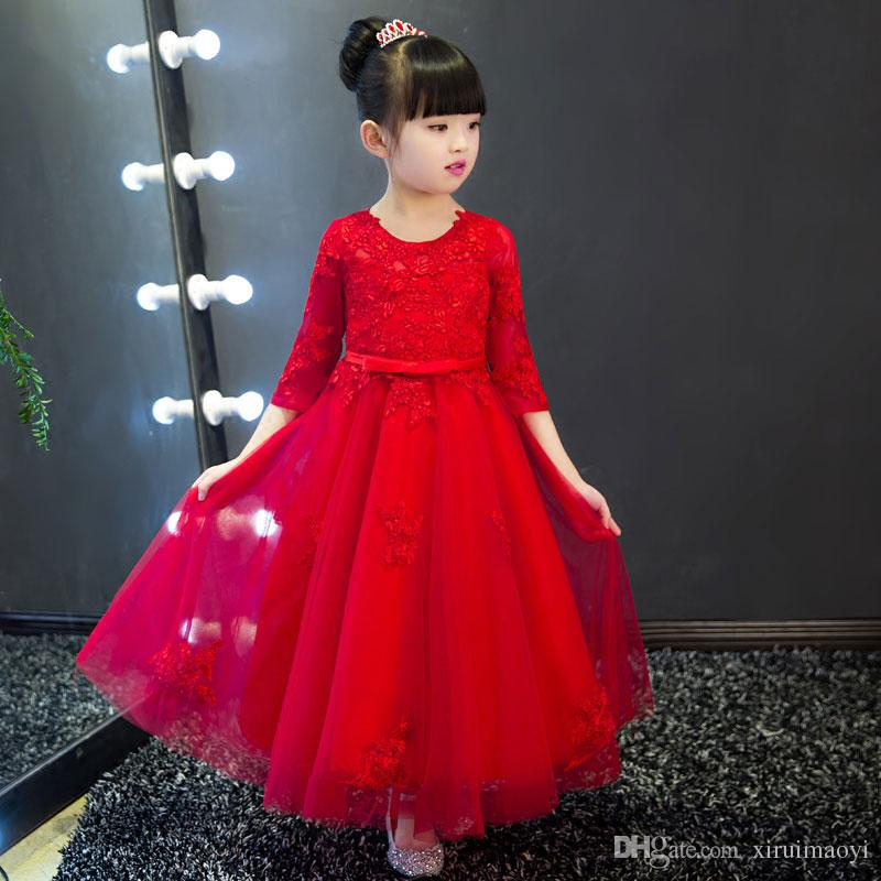 2017 Appliques Red Tulle Flower Girl Dress Ankle Length Princess ...