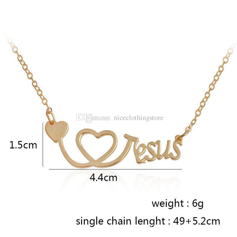 Amo Gesù Collana Collana Silver Rose Gold Heart Heart Stetoscope Pendenti credono gioielli di moda le donne regalo di gioielli uomini