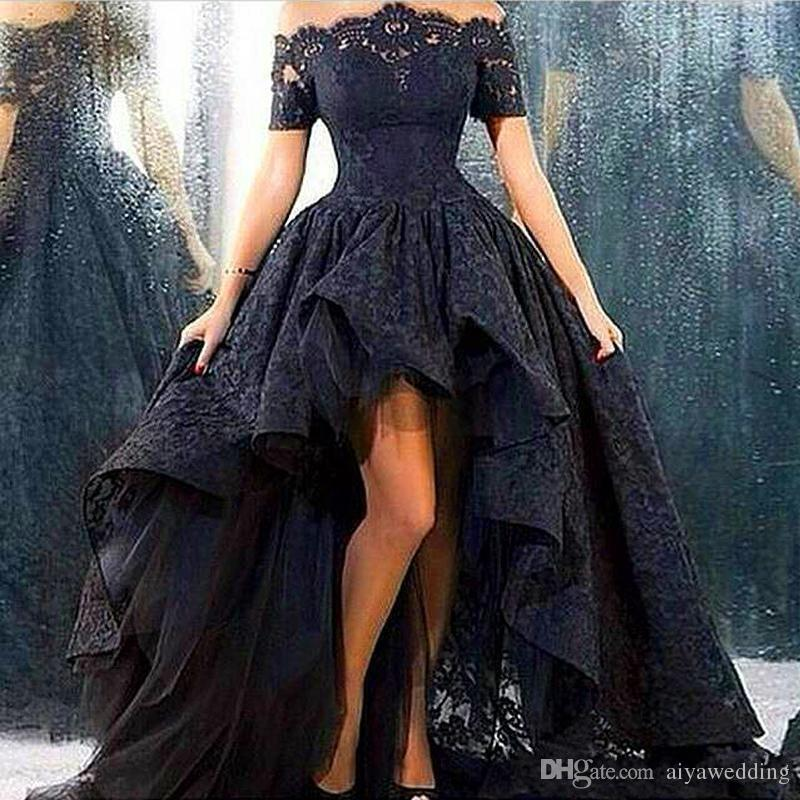 8f65faa726e Black Lace Gothic Prom Dresses Sheer Off Shoulder Short Sleeves 2019 High  Low Evening Gowns Arabic Saudi Dubai Robe De Soiree Cheap Von Maur Prom  Dresses ...