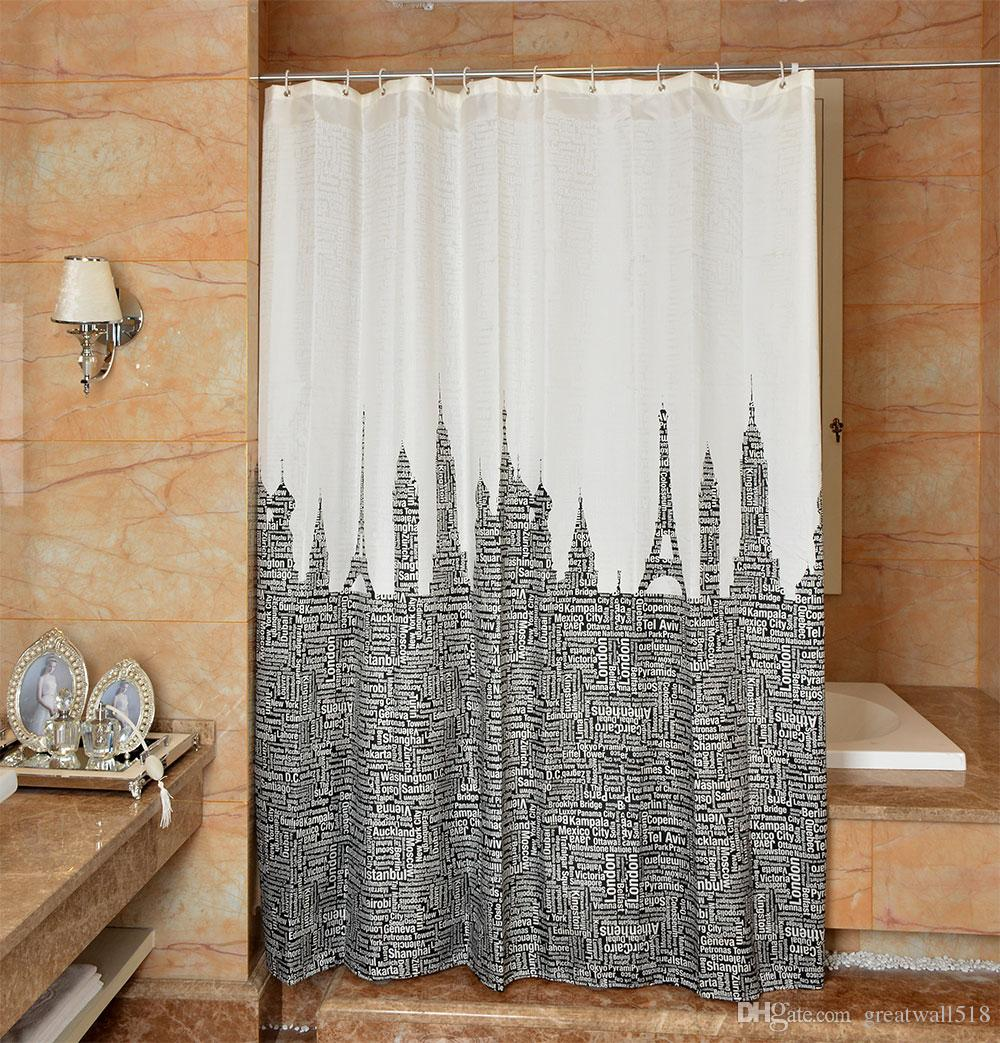 Waterproof Shower Curtain 100% Polyester mildew thick Bathroom Curtains Letter tower Pattern with Hooks Free print wholesale LJ018