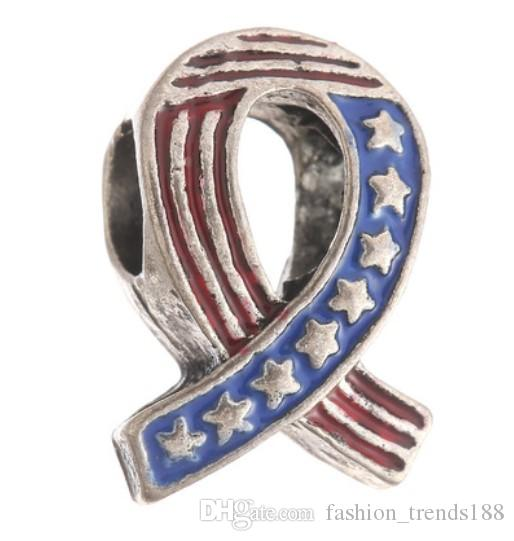 9ee0ff822 2019 Fits Pandora Bracelets Stars And Stripes Silver Enamel Charm Bead  Loose Beads For Wholesale Diy European Sterling Necklace Women From  Fashion_trends188 ...