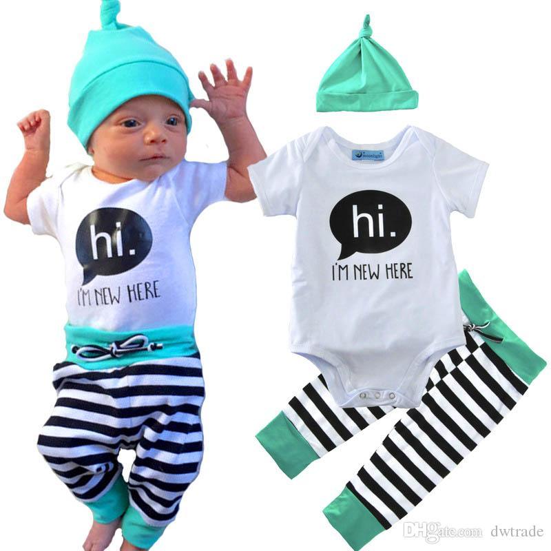 a79ab467786da Newborn Baby Boys Girls Clothes Set T-Shirt Letter Hi Tops Long Pants  Striped Hat 3Pcs Baby Boys Outfits Set