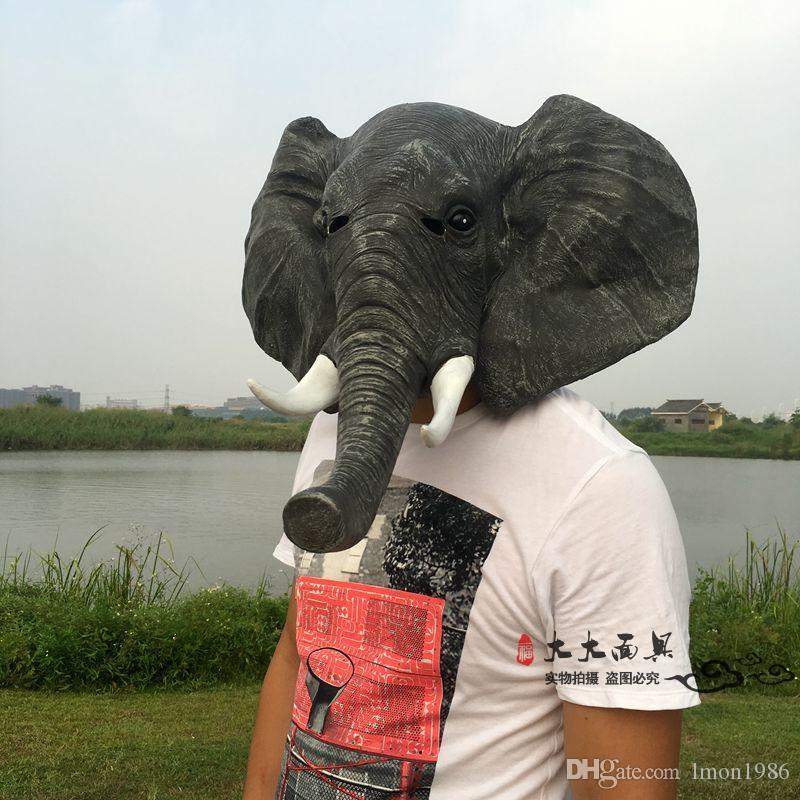 Free Shipping Party Cosplay Elephant Masks Halloween Adult Latex Mask Realistic Animal Cosplay Props Party Fancy Dress
