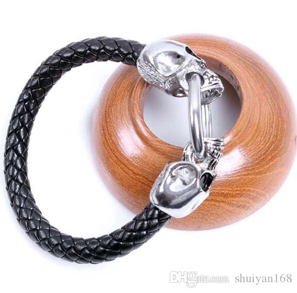 European Steampunk Skull Bracelet Rope Men's Stainless Steel Bracelets Braided Leather Cords Bangle Wrap Bracelets Health Care