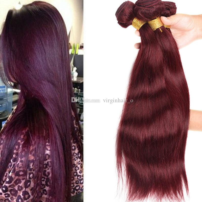 Grade 9a Brazilian Burgundy Hair Extensions 99j Wine Red 3 Bundles