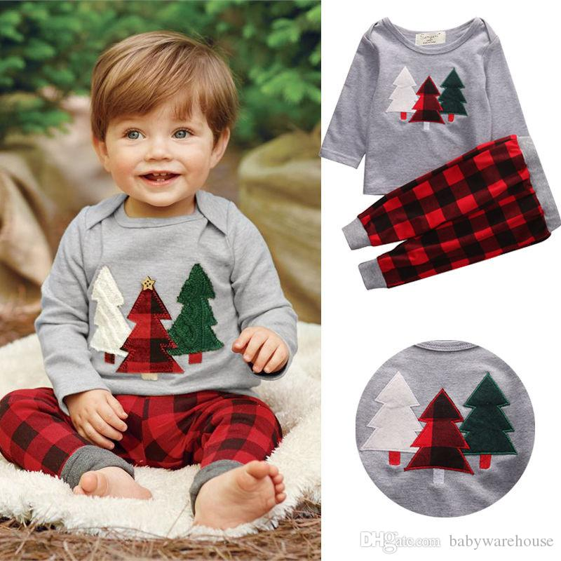 2018 cotton boys suits christmas clothes baby boys clothing set children kids christmas tree t shirts plaid pants two piece baby boy clothes set from