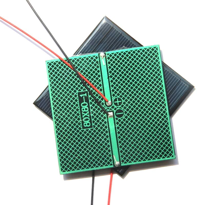 BUHESHUI 0.8V 5V 미니 태양 전지 다결정 태양 전지 패널 모듈 + 케이블 DIY 태양 열 충전기 시스템 3.7V Battety 학습 키트 80 * 80MM
