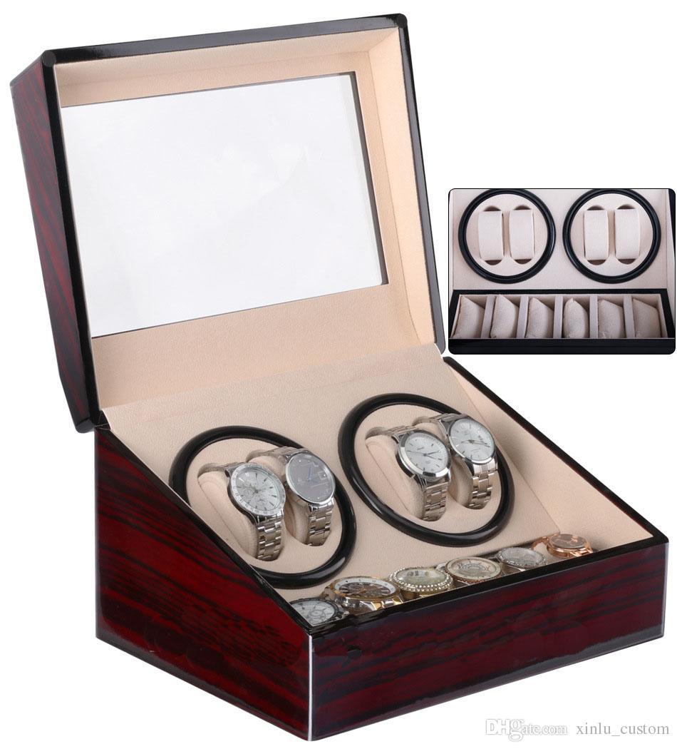 GWatch Winder ، ساعة يد خشبية بتصميم ساعة المخملية التلقائية ووتش اللفاف مشاهدة اللفافات الشحن