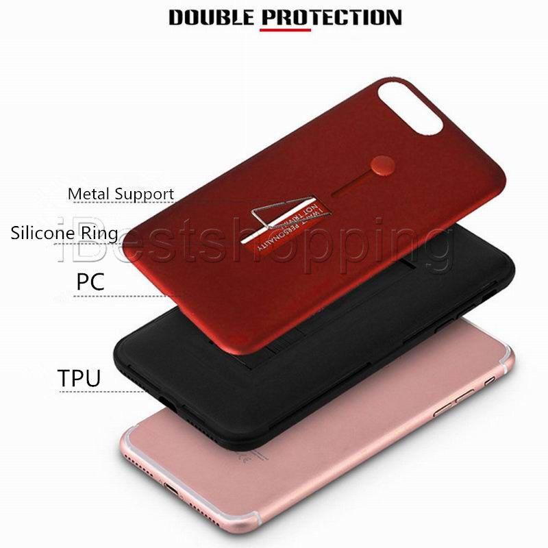 2 en 1 Cubierta de la caja a prueba de golpes Hybrid Rugged Armor con soporte para iPhone X Xr Xs Máx 8 7 6S Plus Samsung S8 S9 S10 más S10E Nota 8 9