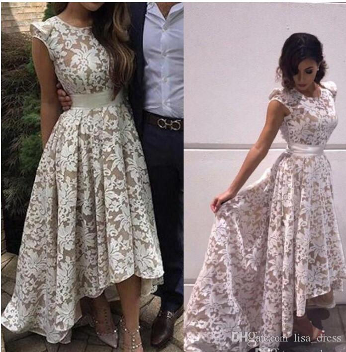 2017 New Elegant Cap Sleeves High low Evening Dresses White Champagne Lining Lace Appliques Formal Party Prom Gowns Custom Real Images