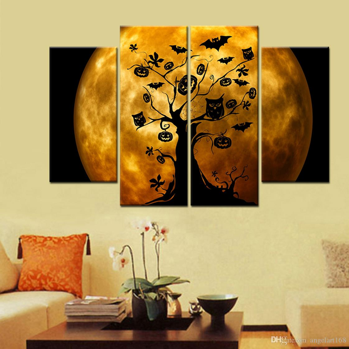2018 Unframed Halloween Moonlight Tree Bat Pumpkin Shadow Print On ...