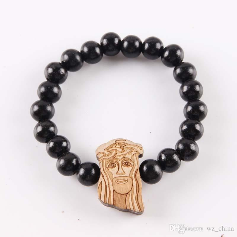 Hip Hop Good Wood Bracelets Jesus Piece Hiphop Bracelet Natural Goodwood NYC Adjustable Macrame 10mm Beads Religious Bracelets For Men