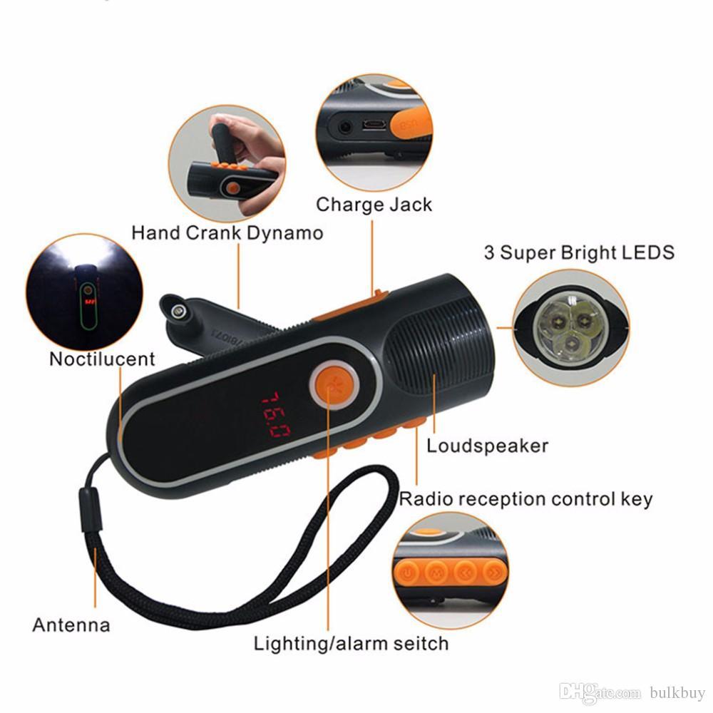 xln-704b Alta Qualidade Recarregável manivela LED Ao Ar Livre Lanterna Tocha Carregador Dínamo AM / FM Rádio atacado