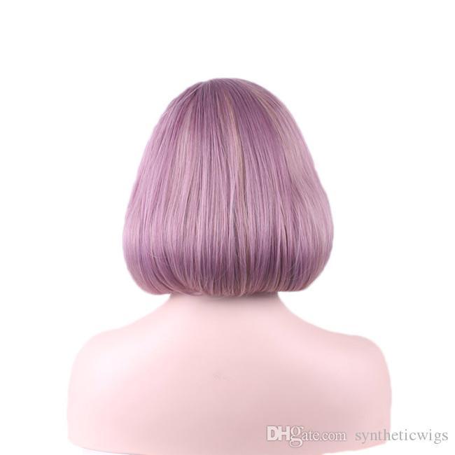 Woodfestival 라이트 퍼플 타로 밥 가발 여성 짧은 가발 내열성 섬유 합성 머리
