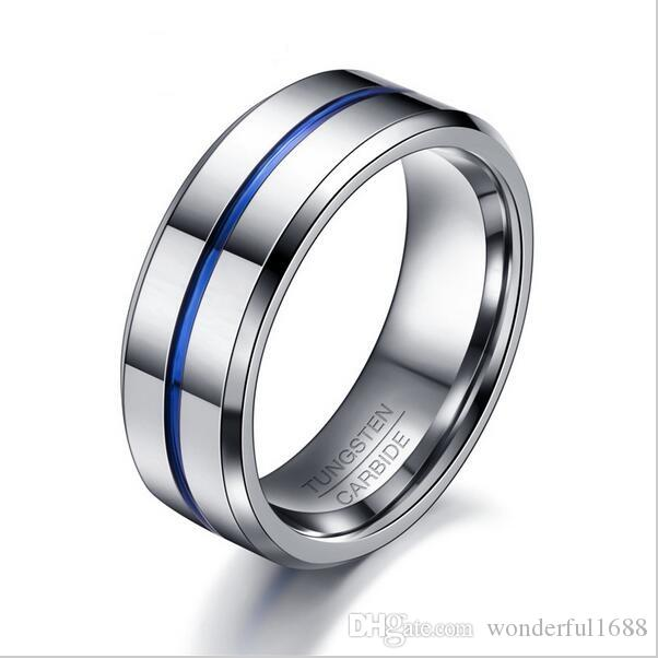 Men Rings Fashion Thin Blue Line Tungsten Ring Wedding Brand 8mm