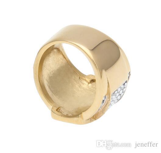 heißer Verkauf New Gold Herren Edelstahl Kreuz Ring Bling Bling Strass Kristall Gold Farbe Punk Ringe Mode Hip Hop Schmuck DJ Ring