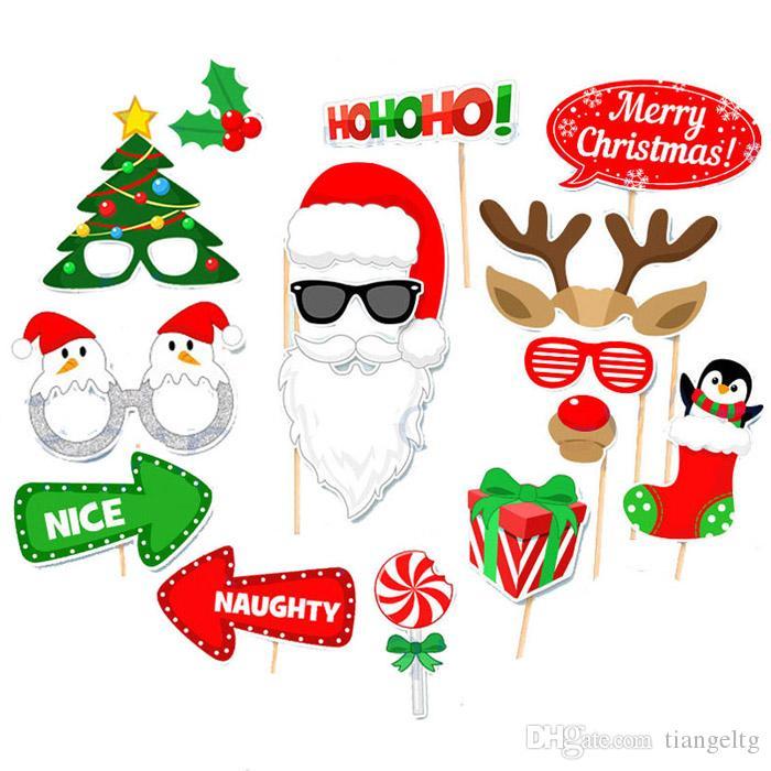 Noel Partisi Fotoğraf Sahne Maskeleri 4 Stilleri Noel Baba Bıyık Şapka Şeker Hediye Dudaklar Tavşan Gözlük Kravat HoHoHo Sloganı Photo Booth ...