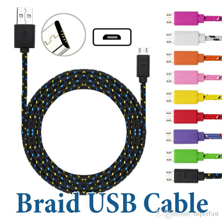 3M / 10FT USB to USB C Cable Data Sync شحن Micro USB Cable for Android Cellphone بدون Package