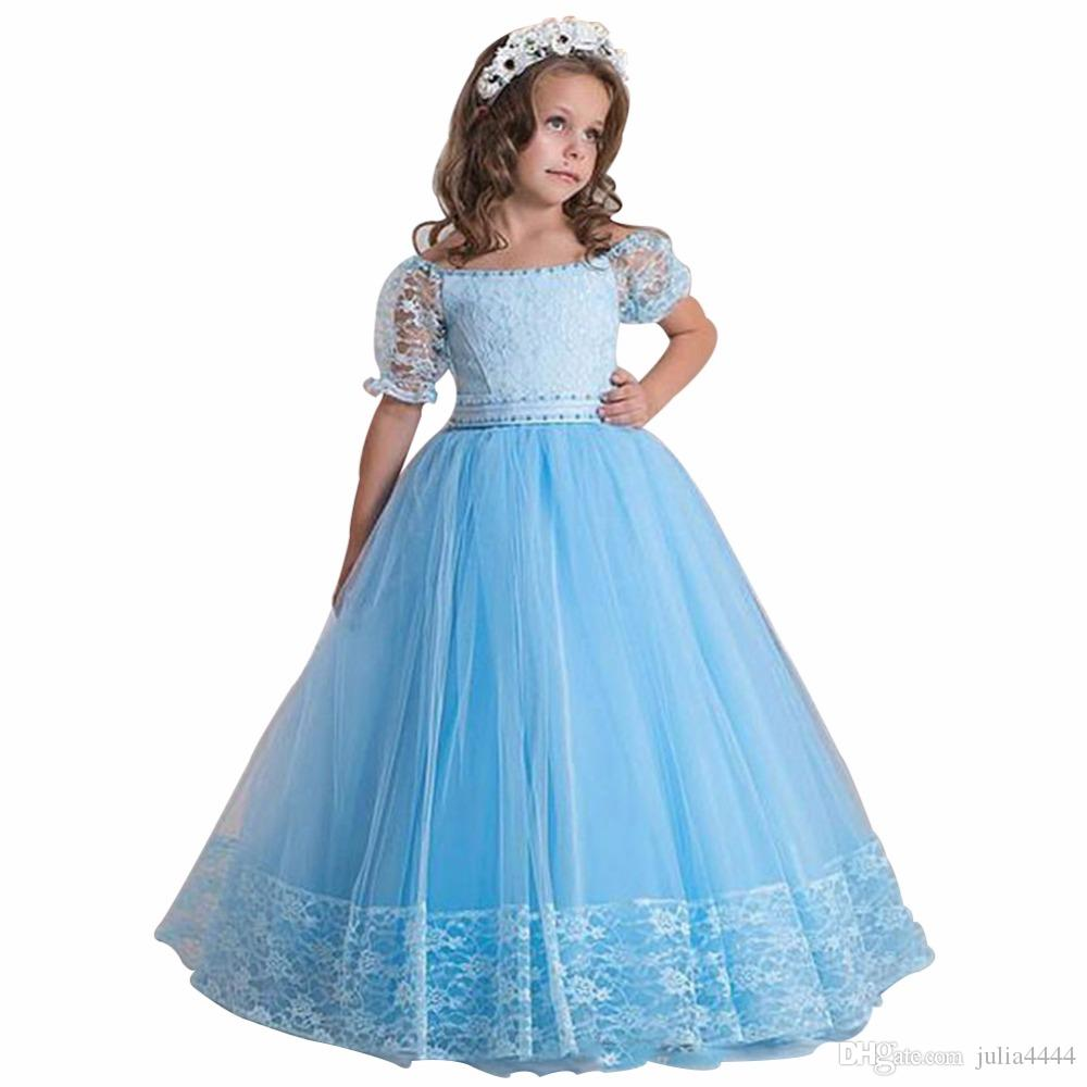 Vintage tulle flower girl dresses skyblue lace top cap sleeves vintage tulle flower girl dresses skyblue lace top cap sleeves girl pageant gowns tea length a line kids birthday bridesmaid dress bridal girl dresses brown ombrellifo Choice Image