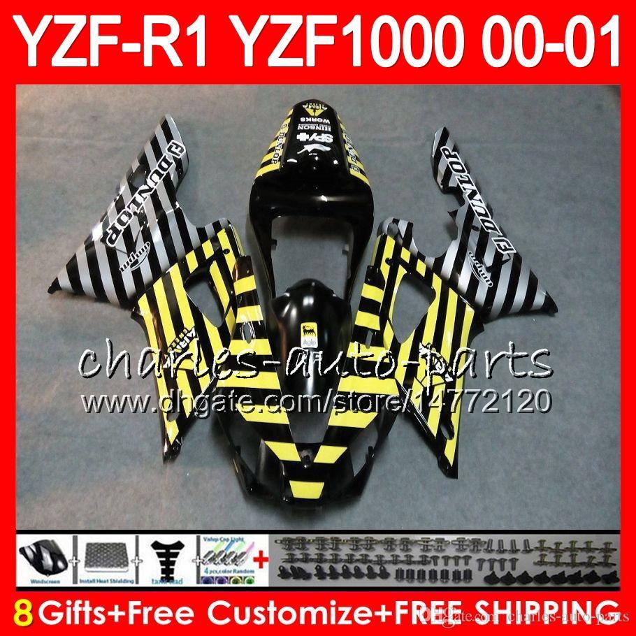 Kroppsarbete för Yamaha YZF1000 YZFR1 00 01 98 99 YZF-R1000 Body 74HM11 Gul Silver YZF 1000 R 1 YZF-R1 YZF R1 2000 2001 1998 1999 Fairing Kit