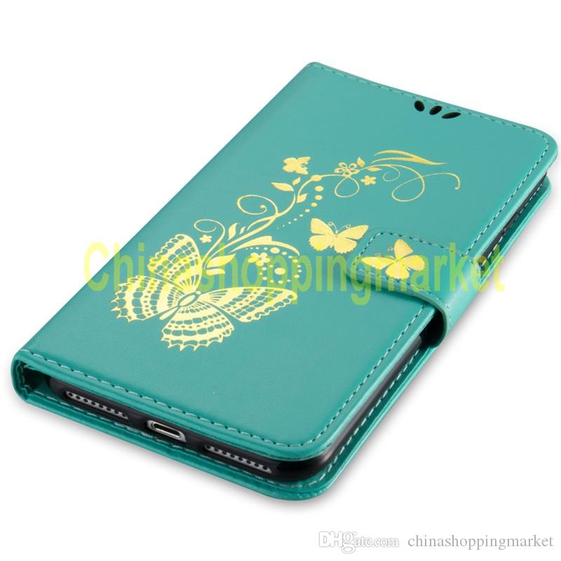Borboleta impressão bronzing case carteira de couro para lg c70 / h440 / h440 q8 ls770 lg7x g3 g4 g5 g6 k5 k5 k7 k8 k8 k10 pixel k2