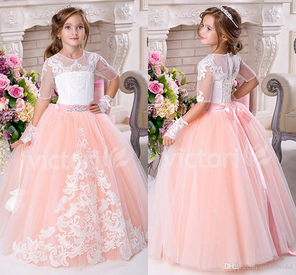 Blush Pink 2016 Lace Ball Gown Tulle Flower Girl Dresses Vintage ...