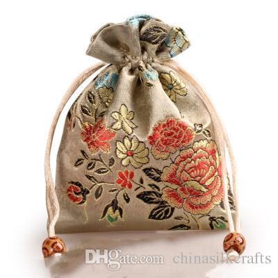 Verdicken Pfingstrosen-Blume Kleine Säckchen Stoff-Tasche Silk Brocade Schmuck Parfüm Make-up-Tools-Speicher-Beutel-Süßigkeit Tee-Bevorzugungs-Beutel Verpackung