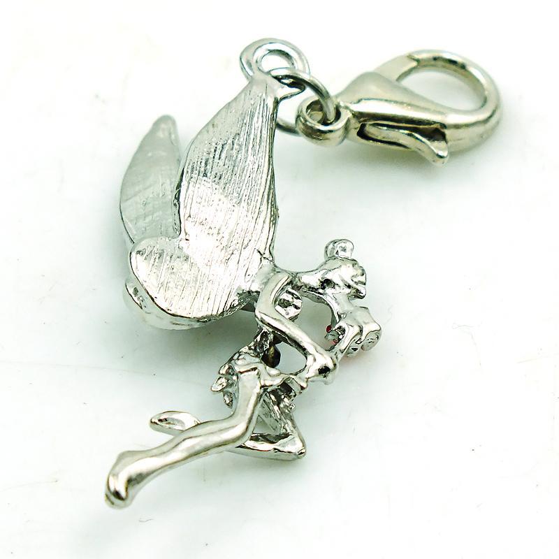 Mode Silver Color Hummer Clasp Charms Rosa Rhinestone Angel Pendants Charms DIY för smycken Tillbehör