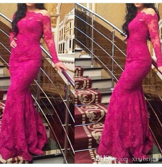 Formal Full Lace Fushia Mermaid Evening Dresses 2017 Long Sleeves One Shoulder Party Gown Simple Prom Dress
