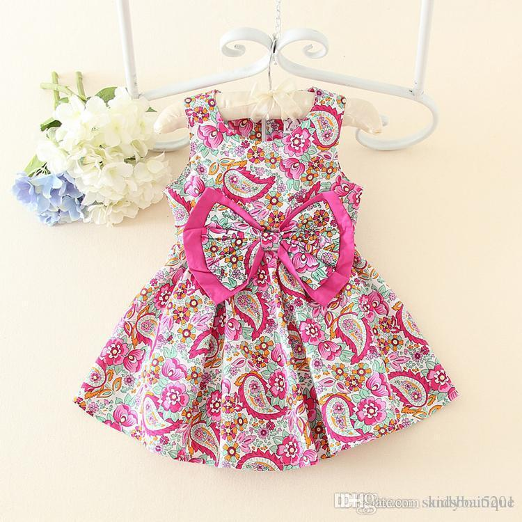 2019 kids girls floral print dresses 2017 summer baby girl cotton