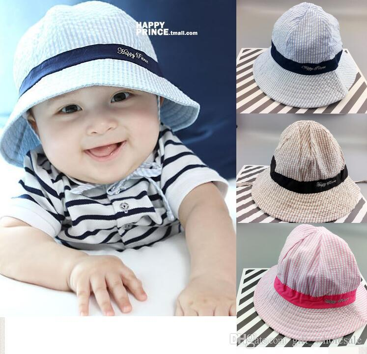 fc5476f3460 2019 Cotton Striped Letters Baby Boy Girl Beanie Fashion Bucket Toddler Hat  Children Kids Boys Girls Kids Infant Sun Hat Caps From Gift wholesale
