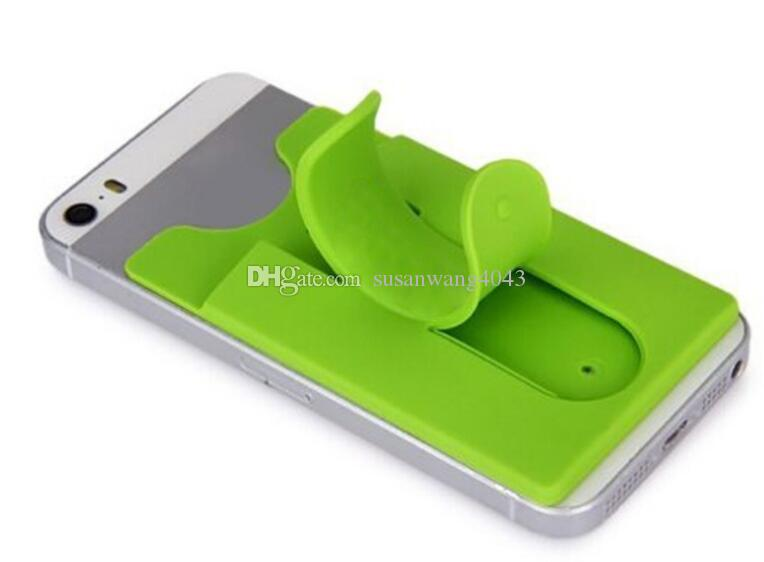 Universal card slot Holder Portable Finger Touch Stander with sticker for iphone 7 galaxy S8 K7 silicone wallet Bracket Mounts DHL HDSZ012
