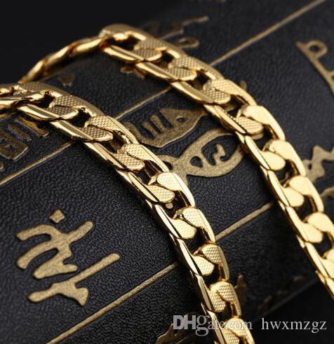 Collar de cadena cubana chapado en oro de acero inoxidable de 18 quilates de los hombres de 7 mm hombres