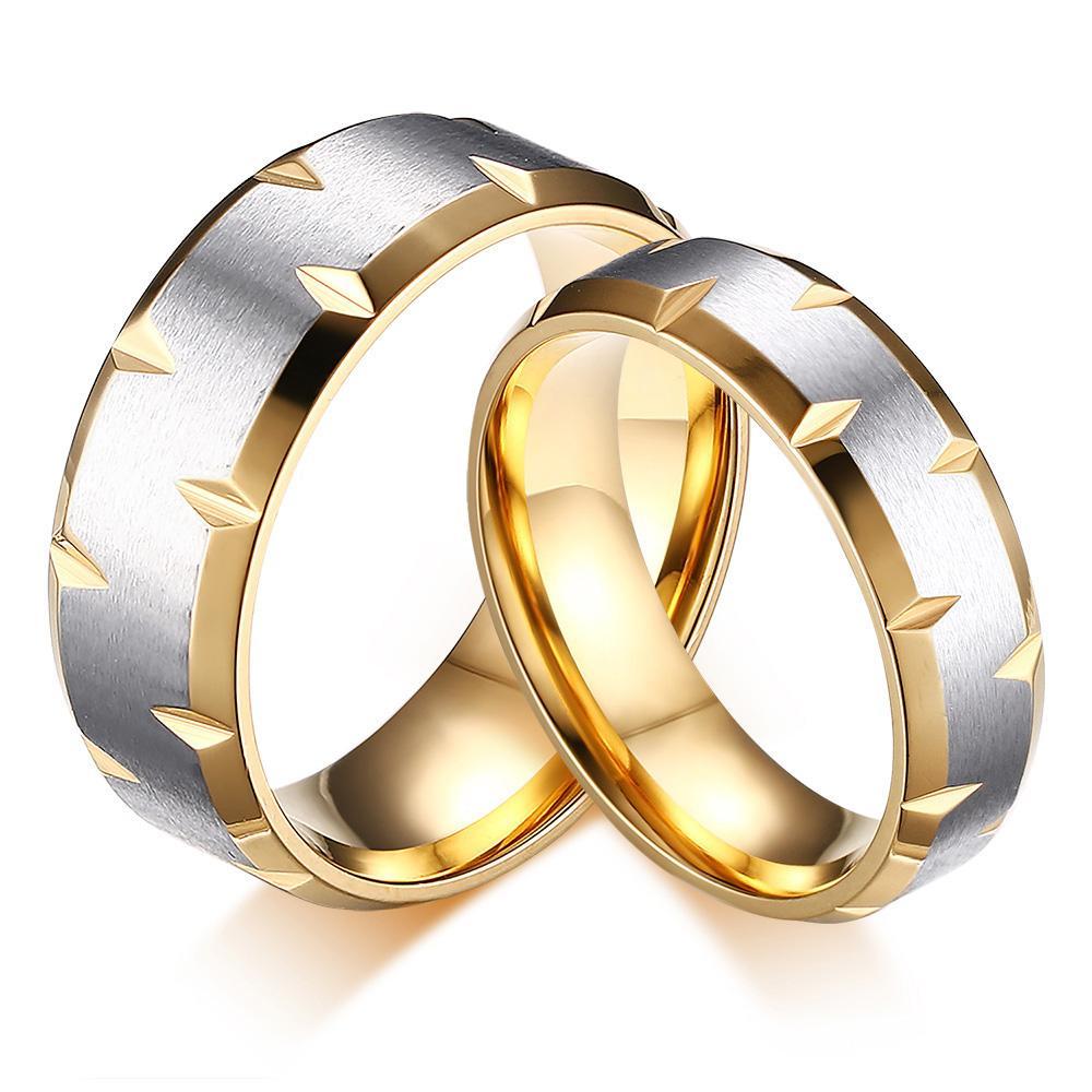 2017 One Pcs Titanium Steel Gold Color Simple Couple Rings Retro ...