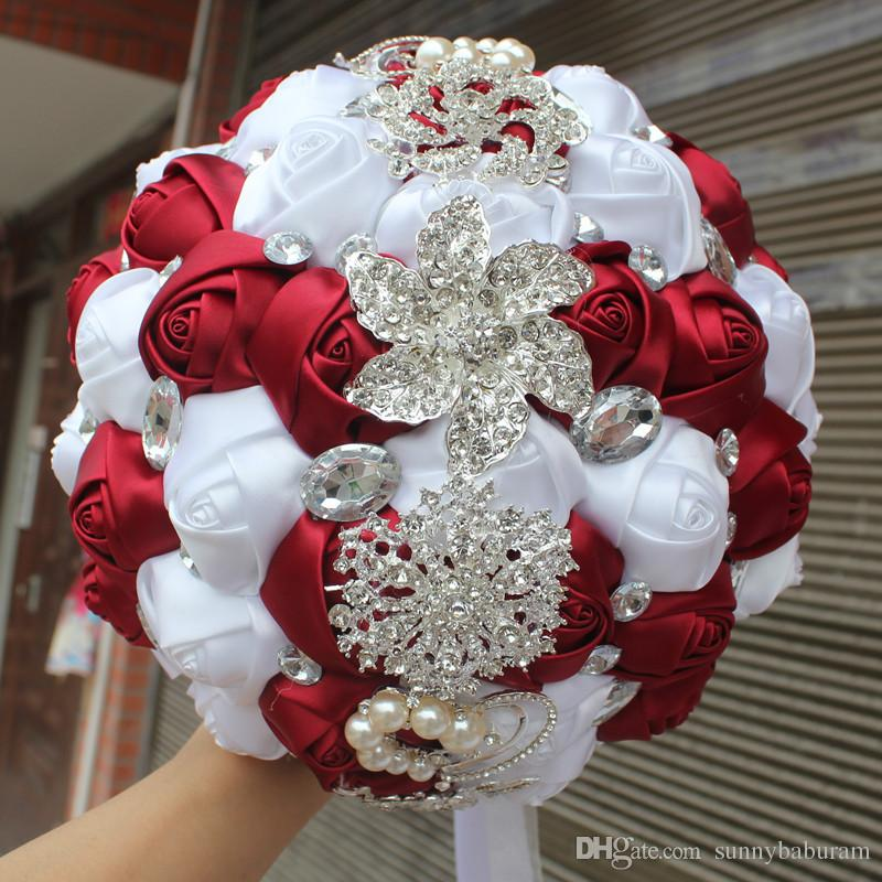 Wine Red White Wedding Bouquet Artificial Sweet 15 Quinceanera Crystal Silk Ribbon New Buque De Noiva W228 E Discount Flowers Faux